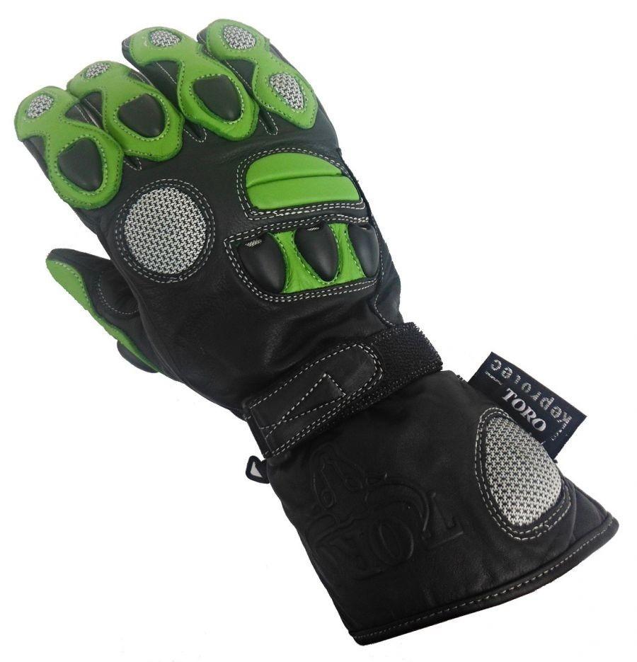 TO-205-G zelené kožené moto rukavice TORO 087926310b
