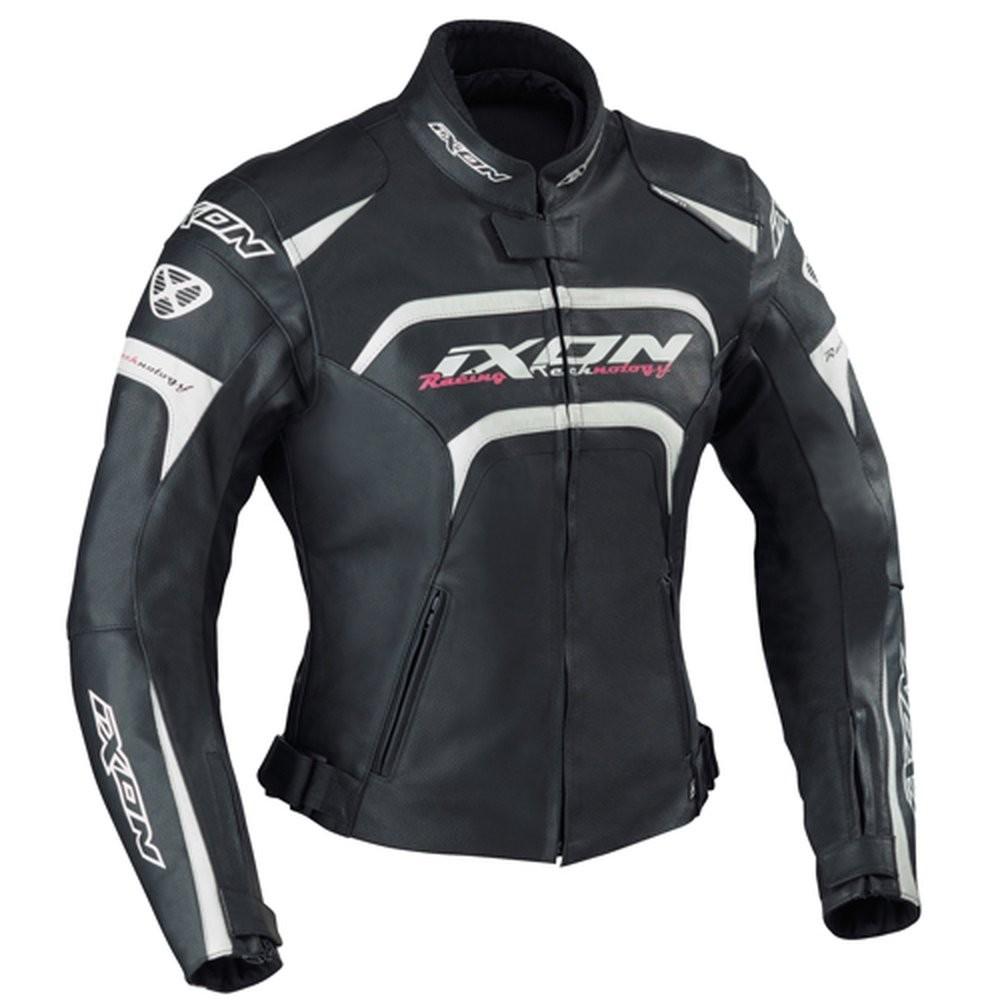 FEVER 1019 - dámská černobílá kožená bunda IXON - XL