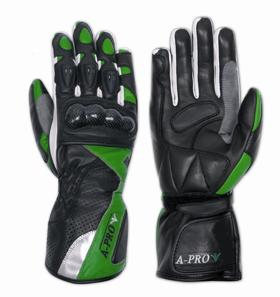 GINGER - dámské zelené kožené moto rukavice GUD-GIVE A-Pro XS