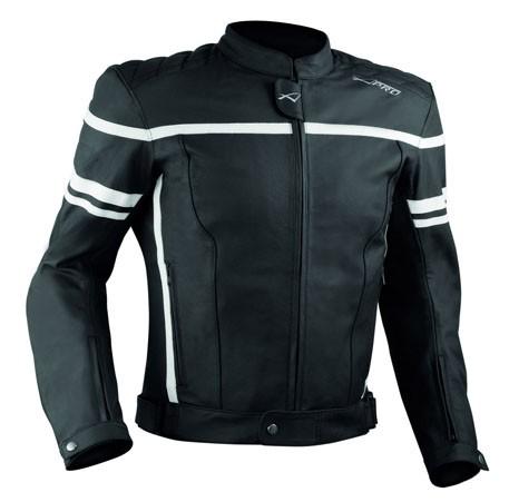 LIBERTY černobílá pánská kožená moto bunda A-pro - L