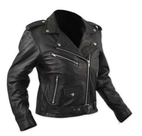 QUEEN LADY - dámská černá kožená moto bunda A-pro XS