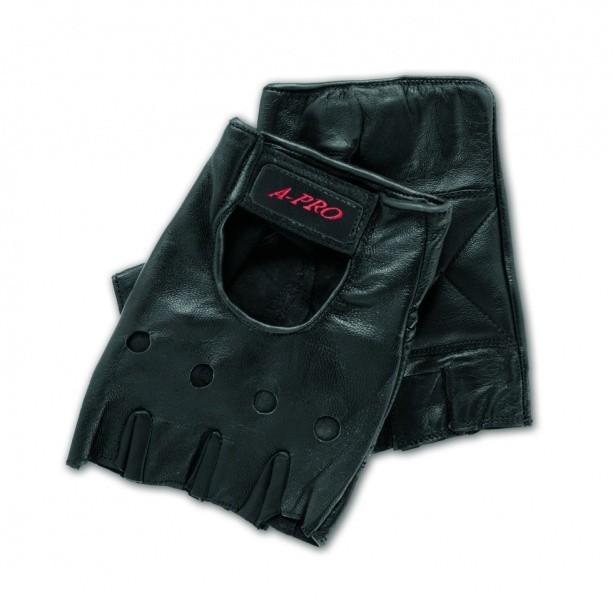 CUT FINGERS EXTRA - černé kožené motocyklové rukavice A-pro 3XL