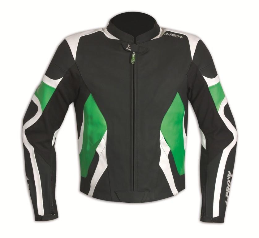 CENTAUR zelená pánská kožená moto bunda A-pro M