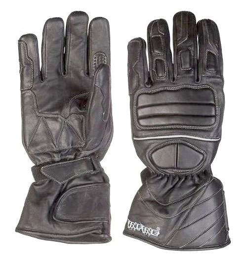 SPRING zateplené černé kožené moto rukavice INFINE XS