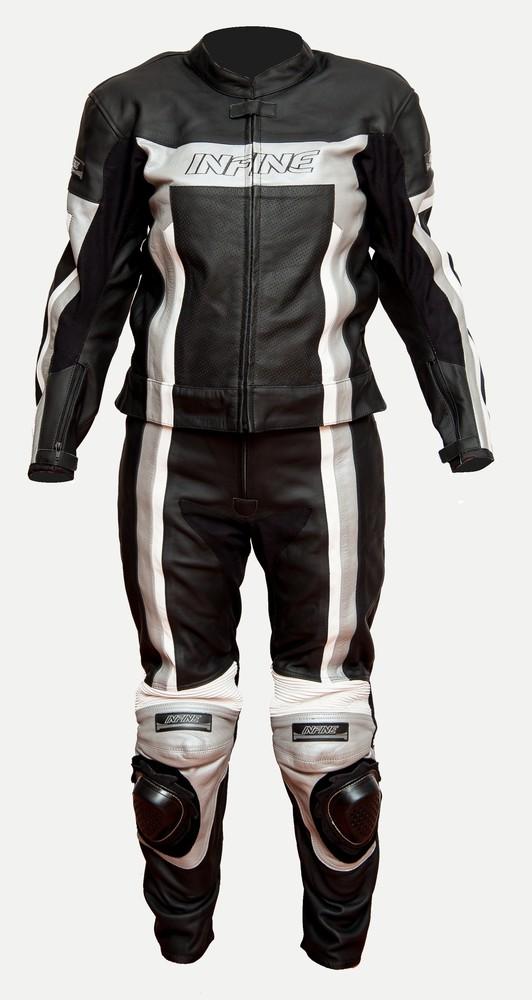 TORQUE - dvoudílná šedá kožená moto kombinéza INFINE 48